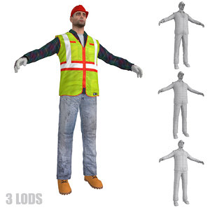 worker lods man 3d max