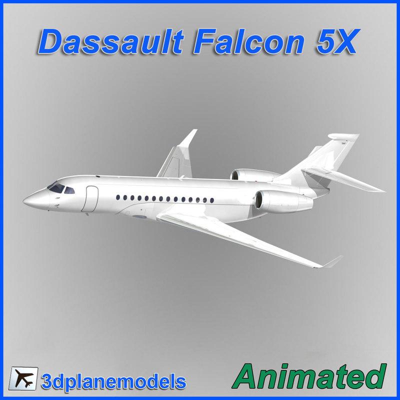 dassault falcon 5x x 3d model