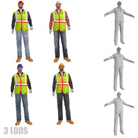 3d rigged worker lods s model