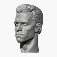 Arnold Schwarzenegger head with 2 haircuts