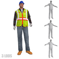 rigged worker lods s max
