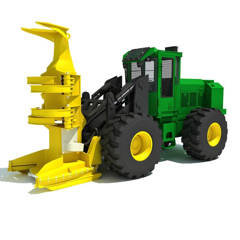 3d wheeled feller buncher model