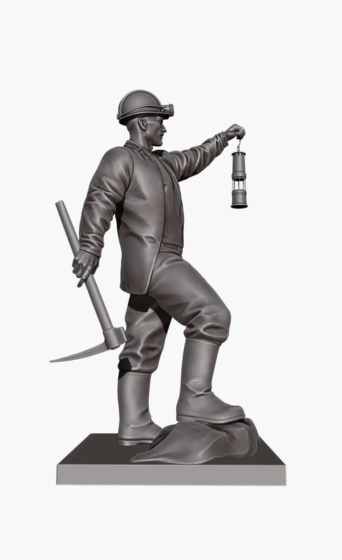 3d ma mine-worker collier pitman sculpture