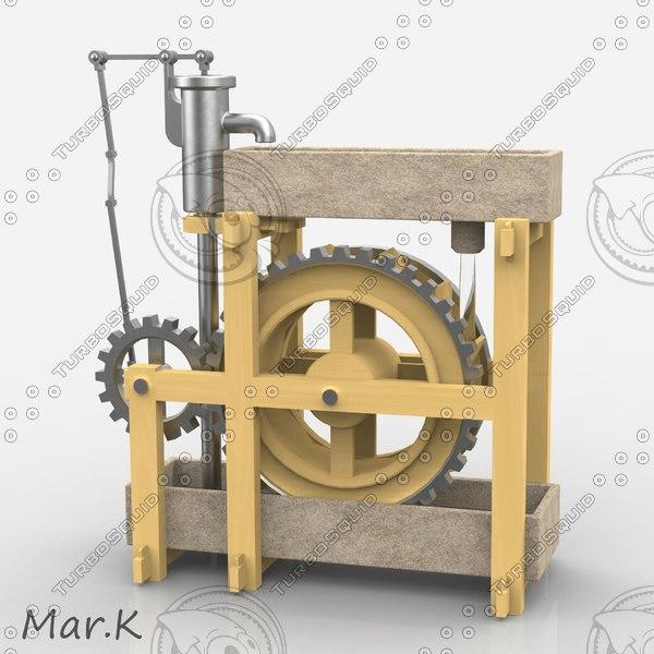 3d model perpetuum mobile - water wheel