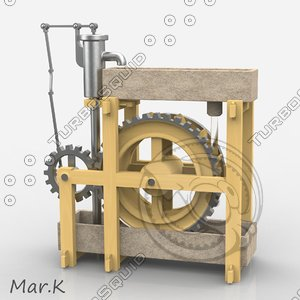 3d model perpetuum mobile - water wheel