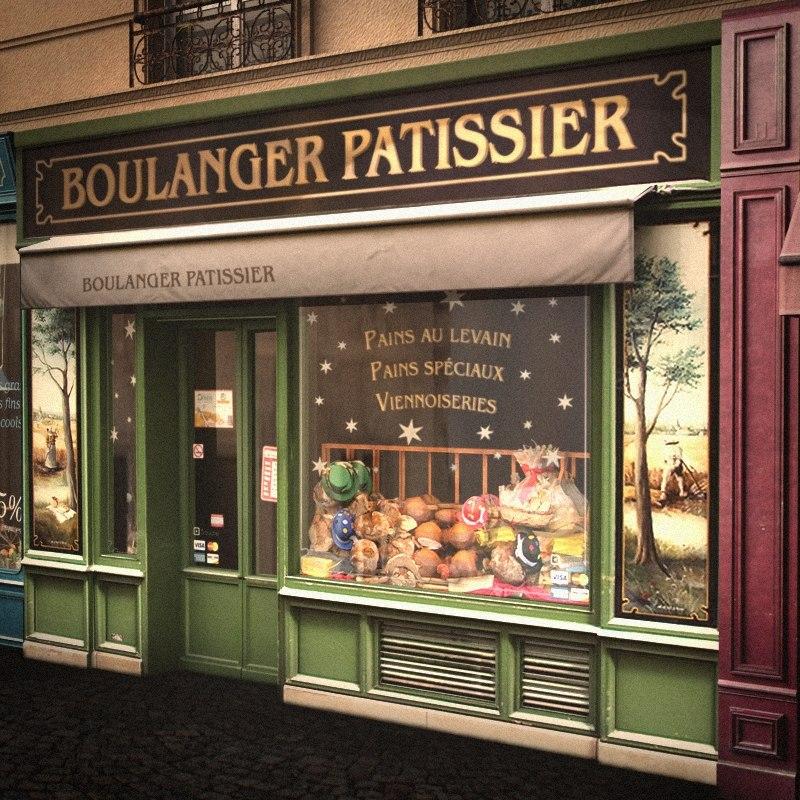 3d model typical paris shop facade