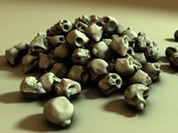 pile alien skulls 3d model