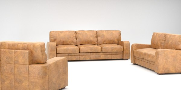 photorealistic leather couch set 3d model