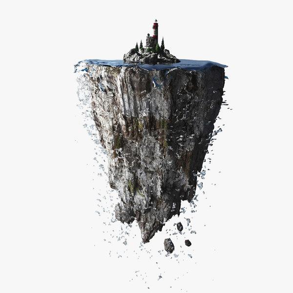 3d lighthouse floating island model