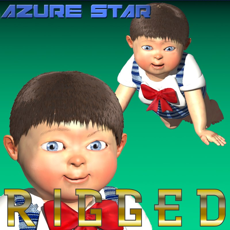 3d model baby rigged characters