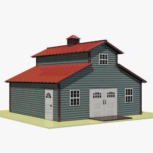 cartoon barn 3d model