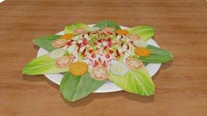 3d salad food vegetables