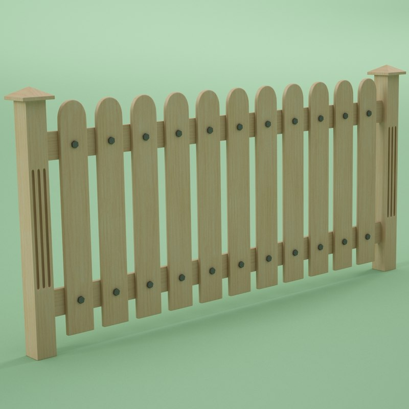 3d fence wood wooden model