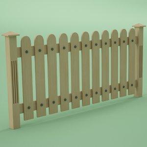 3d fence wood wooden model