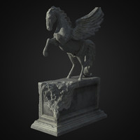 free pegasus statue ruined 3d model