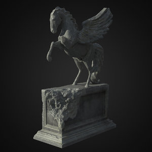 free pegasus statue ruined 3d model