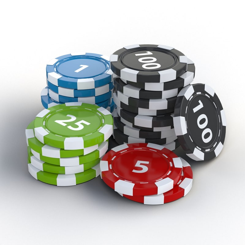 3d poker chips stack model