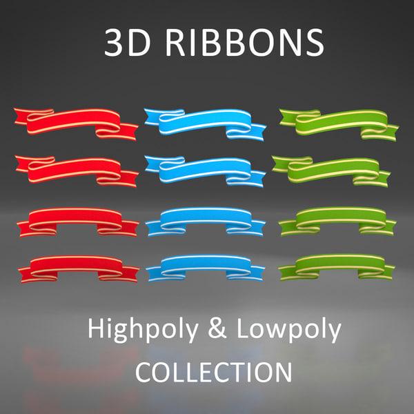 3d model badges ribbons