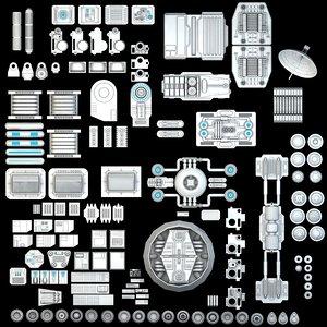 3d model science fiction mechanical parts