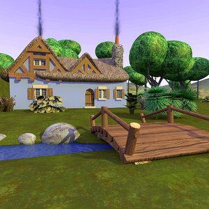 3d model cartoon landscape cottage scene