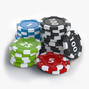 3d poker chips stack model