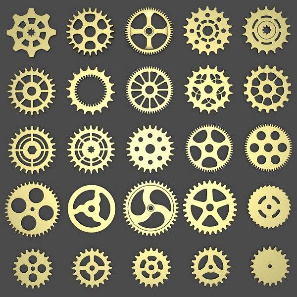 3d model of 25 gear wheels