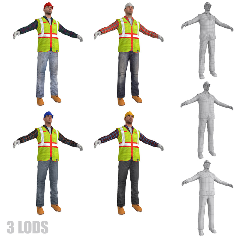 workers lods s man 3d max
