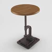 industrial coffee table chair 3d model