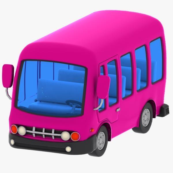 3d cartoon minibus bus model