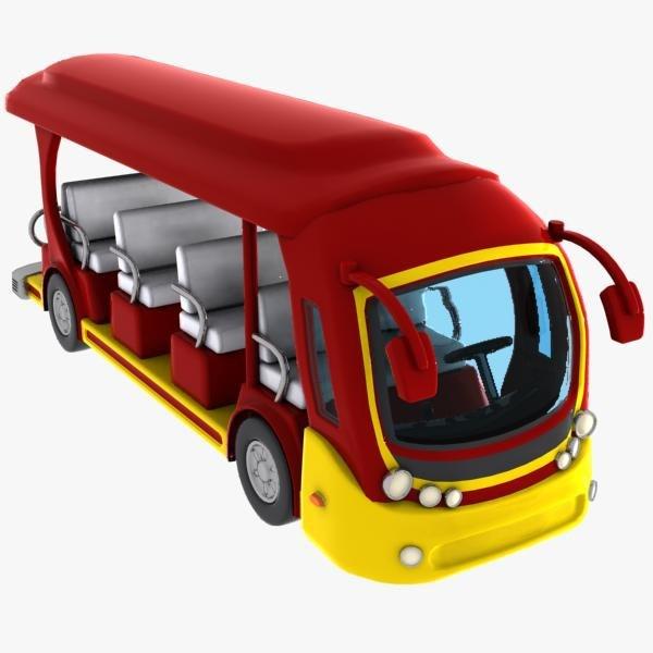 3d model cartoon tour bus