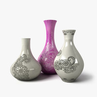 3d painted flower vases 1 model