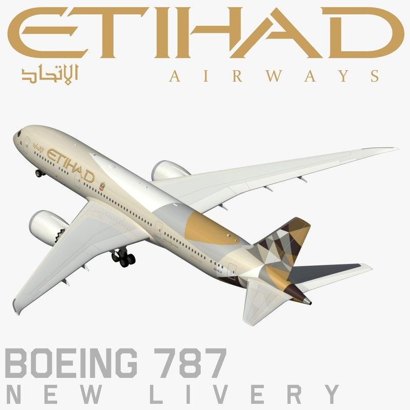 boeing 787 etihad new 3d model