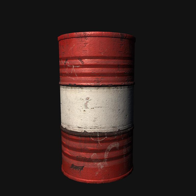 red oil drum 3d model