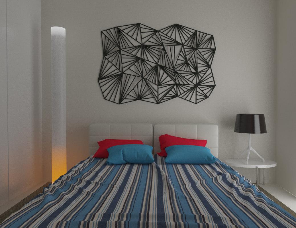 3d simple bedroom