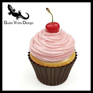 3d model sweet cupcake cherry