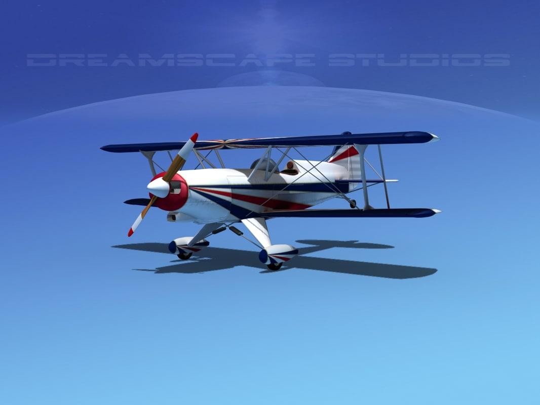 propeller acro sport biplane 3d obj
