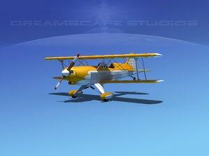 3d propeller acro sport biplane model
