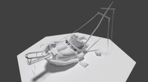 3d sinken boat