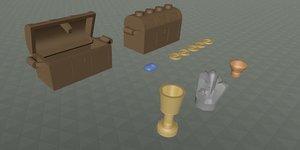 3d model lego treasure chest