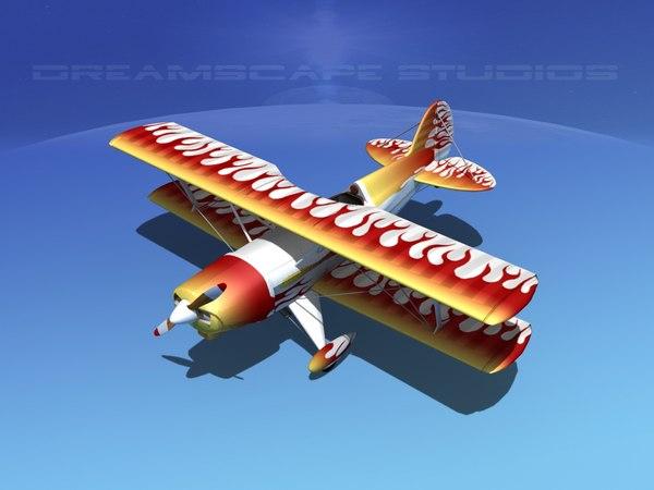 propeller acro sport biplane 3d dwg