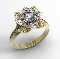 3d ring diamonds rubies emeralds model