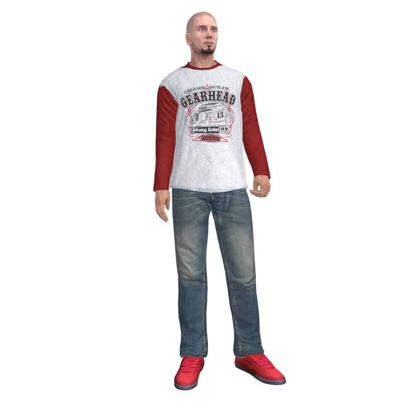 3ds max rigged casual man