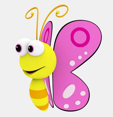 3d cartoon butterfly model