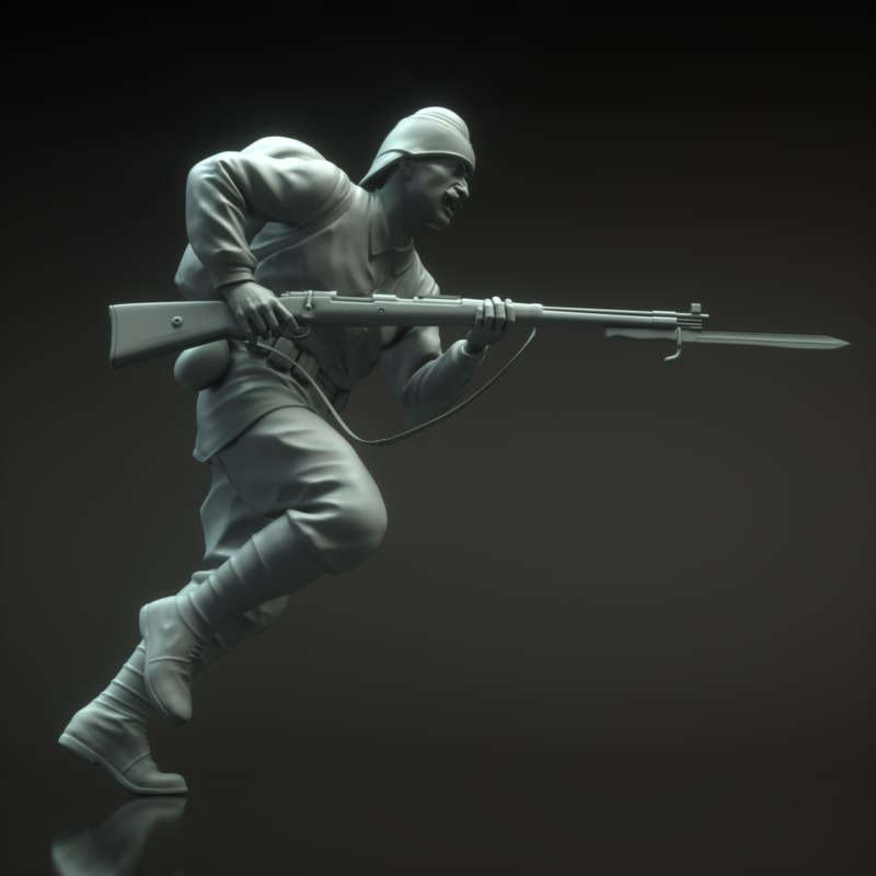 3d obj turk soldier sculpture