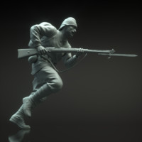 Turk Soldier run sculpture