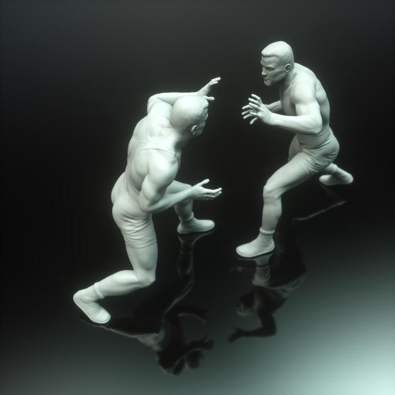 wrestler sculpture male printing obj