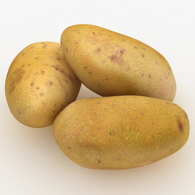 realistic potatoes yellow red 3d model