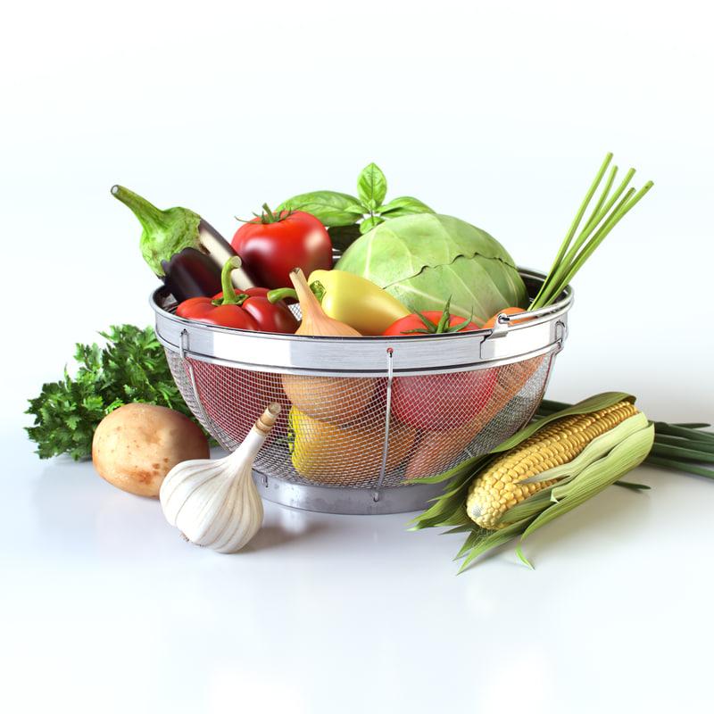 3d vegetables basket