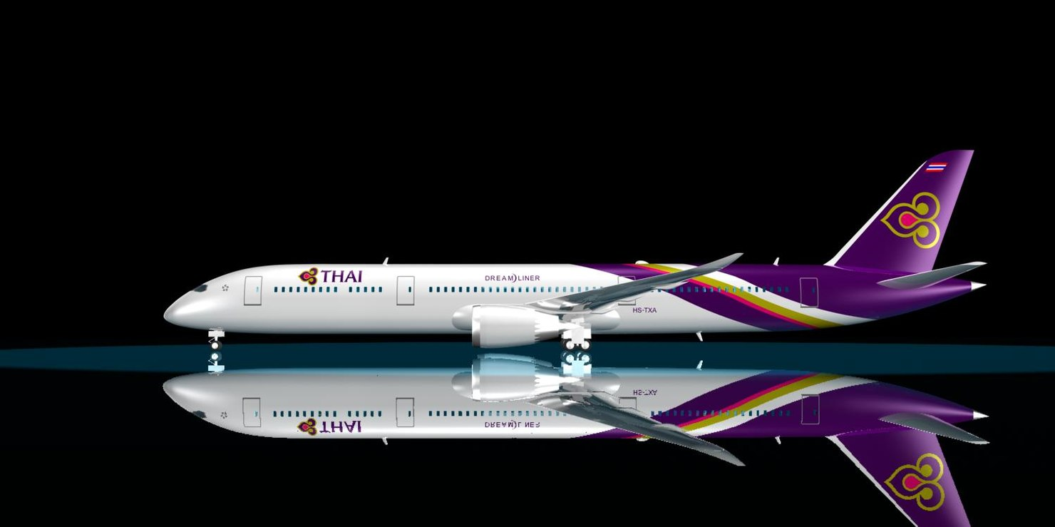 3d model thai 787-9 dreamliner 787