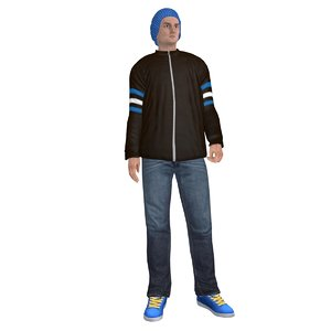 rigged casual man 3d max